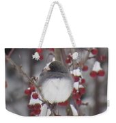 Junco Puffed Up On Crabapple Tree Weekender Tote Bag