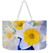 Just Plain Daffy 2 In Blue - Flora - Spring - Daffodil - Narcissus - Jonquil  Weekender Tote Bag