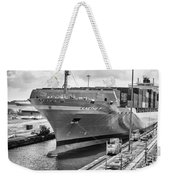 Kaethe P Container Ship Panama Canal Monochrome Weekender Tote Bag
