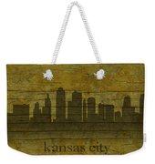 Kansas City Missouri City Skyline Silhouette Distressed On Worn Peeling Wood Weekender Tote Bag
