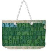 Kansas Word Art State Map On Canvas Weekender Tote Bag