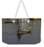Kashmiri Men Rowing Many Small Wooden Boats In The Waters Of The Dal Lake Weekender Tote Bag