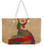 Katniss Everdeen From Hunger Games Jennifer Lawrence Watercolor Portrait On Worn Parchment Weekender Tote Bag