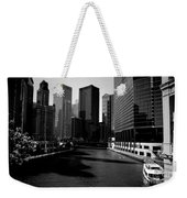 Kayaks On The Chicago River - Black Weekender Tote Bag