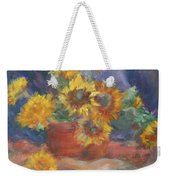 Keep On The Sunny Side - Original Contemporary Impressionist Painting - Sunflower Bouquet Weekender Tote Bag