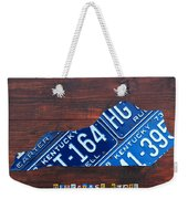 Kentucky License Plate Map The Bluegrass State Weekender Tote Bag