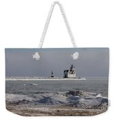 Kewaunee Lighthouse In Winter Weekender Tote Bag