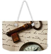 Key Ring And Compass Weekender Tote Bag