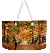 Kid With Backpack Walking In Fall Colors Weekender Tote Bag