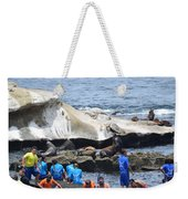 Kids And Sea Lions Weekender Tote Bag