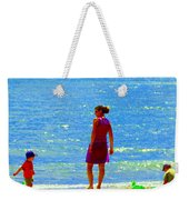 Kids Playing On The Seashore Mom And Little Boys Pointe Claire Montreal Waterscene Carole Spandau Weekender Tote Bag
