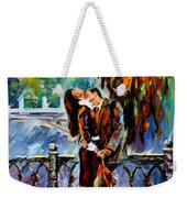 Kiss After The Rain - Palette Knife Oil Painting On Canvas By Leonid Afremov Weekender Tote Bag