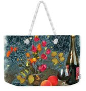 Kitchen - Peaches And Wine Painting  Weekender Tote Bag