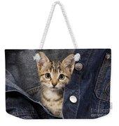 Kitten In Jean Jacket Weekender Tote Bag