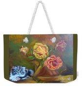 Kitty In The Roses Weekender Tote Bag