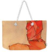 Kneeling Female In Orange-red Dress Weekender Tote Bag
