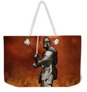 Knight In Shining Armour On A Medieval Battlefield Weekender Tote Bag