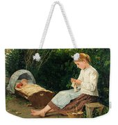 Knitting Girl Watching The Toddler In A Craddle Weekender Tote Bag