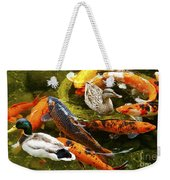 Koi Fish In Pond Swimming With Two Mallard Ducks Weekender Tote Bag