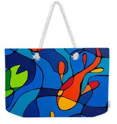 Koi Joi - Blue And Red Fish Print Weekender Tote Bag