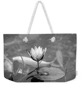 Koi Pond With Lily Pad And Flower Black And White Weekender Tote Bag