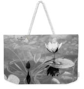 Koi Pond With Lily Pad Flower And Bud Black And White Weekender Tote Bag