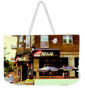 La Chic Regal Taverne Au Coin Rue Centre Et Charlevoix Pointe St Charles Scene De Rue Carole Spandau Weekender Tote Bag