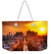 La Defense And Champs Elysees At Sunset Weekender Tote Bag
