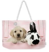 Lab Puppy And Bunny Weekender Tote Bag