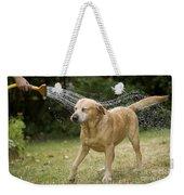 Labrador Playing In Water Weekender Tote Bag