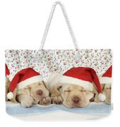 Labrador Puppy Dogs Wearing Christmas Weekender Tote Bag