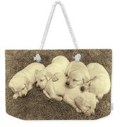 Labrador Retriever Puppies Nap Time Vintage Weekender Tote Bag by Jennie Marie Schell