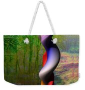 Lady At The Pond With Butterfly Weekender Tote Bag