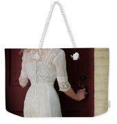 Lady In Edwardian Dress Opening A Door Weekender Tote Bag