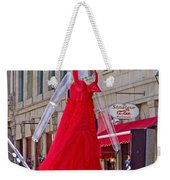 Lady In Red Watching Filming Of Today Show In Old Montreal-qc Weekender Tote Bag