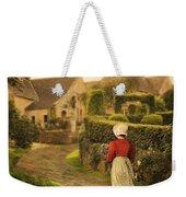 Lady In Regency Dress Walking Weekender Tote Bag by Jill Battaglia