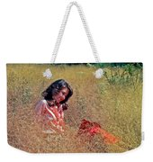 Lady In The Grass -horiz Weekender Tote Bag