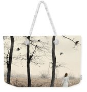 Lady In White In Autumn Landscape Weekender Tote Bag