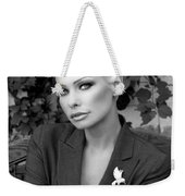Lady Of Solitude Bw Palm Springs Weekender Tote Bag by William Dey
