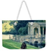 Lady Sitting On A Hill Above A Lake Weekender Tote Bag