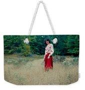 Lady Standing In Grass 2 Weekender Tote Bag
