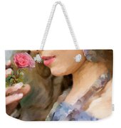 Lady With Pink Rose Weekender Tote Bag