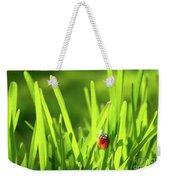 Ladybug In Grass Weekender Tote Bag by Carlos Caetano