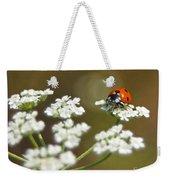 Ladybug In White Weekender Tote Bag