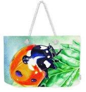 Ladybug On The Leaf Weekender Tote Bag by Irina Sztukowski