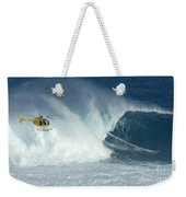 Laird Hamilton Going Left At Jaws Weekender Tote Bag by Bob Christopher