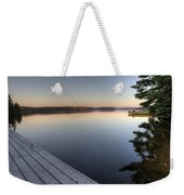 Lake In Autumn Sunrise Reflection Weekender Tote Bag