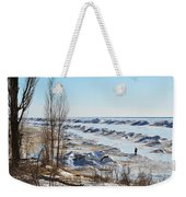 Lake Michigan In Ice Weekender Tote Bag