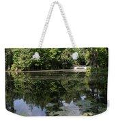 Lake On The Magnolia Plantation With White Bridge Weekender Tote Bag