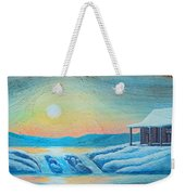 Lake Sunrise And The Old Cabin Weekender Tote Bag
